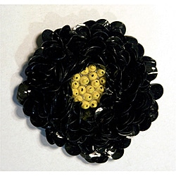 Black Sequin Floral Magnetic Pin