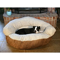 Round Brown Microsuede and Sherpa Pet Bed