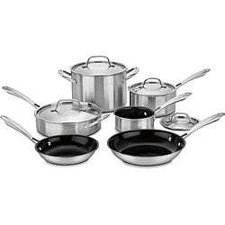 Cuisinart GGT-10 Green Gourmet 10pc Tri-Ply Stainless Steel Cookware Set