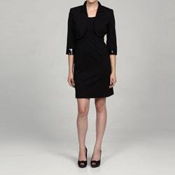 Jessica Howard Women's Petite 2-piece Bead Cuff Bolero Jacket Dress