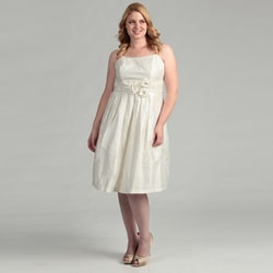 Eliza J Women's Plus Size Ivory Embellished Ruched Waist Dress FINAL SALE
