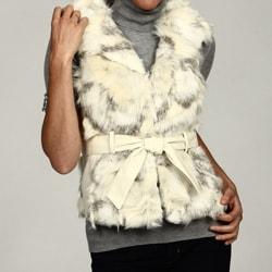 Blanc Noir Women's Beige/ Black Belted Faux Fur Vest