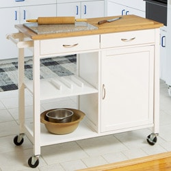 Dual Top Kitchen Island with Granite Top Surface, Shelves