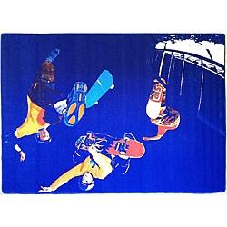 Skateboarding Blue Area Rug (5' x 8')