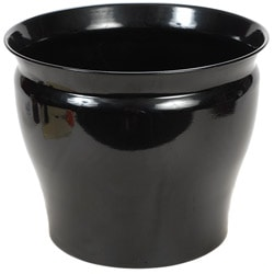 Shiny Black Metal 12-inch Planters (Set of 2)