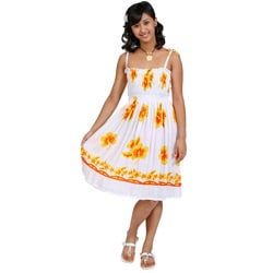 Women's White Yellow Hibiscus Floral Sun Dress (Indonesia)