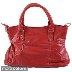 Journee Collection Buckle Detail Double Handle Leather Tote Bag