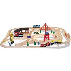 Melissa & Doug Wooden Railway Play Set