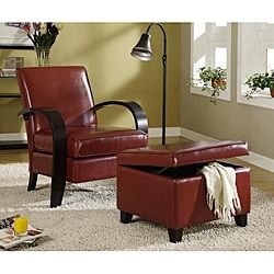 Burgundy Bonded Leather Chair and Storage Ottoman