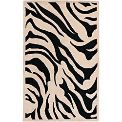 Hand-tufted Black/White Zebra Animal Print Modesto Wool Rug (12'x15')