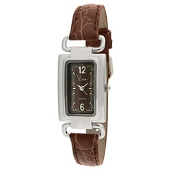 Viva Silvertone Brown Dial Strap Watch