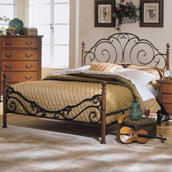 LeAnn Bronze Metal Cherry Finish King Poster Bed