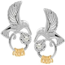 Wish Ring Sterling Silver Hummingbird CZ Stud Earrings