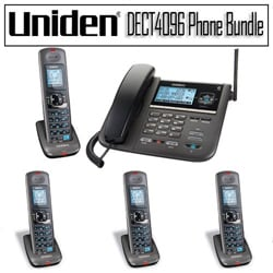 Uniden DECT 6.0 2-line Cord/ Cordless Digital Answering System with 4 Handset Kit