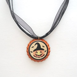 Jack O'Lantern Bottle Cap Necklace
