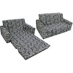 Magical Harmony Kids Minky Zebra Flip Sofa