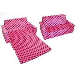Magical Harmony Kids Minky Hot Pink Skull Flip Sofa