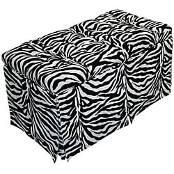 Magical Harmony Kids Minky Zebra Tufted Toy Box