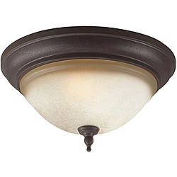Olympus Tradition Collection 2-light Crackled Bronze Finish Flush Mount Fixture