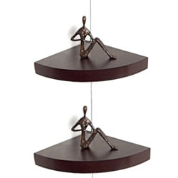 Walnut Veneer Corner Radial Shelves (Set of 2)