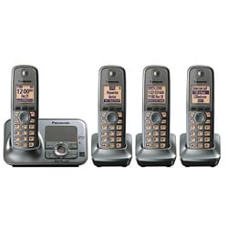 Panasonic KX-TG4134M DECT 6.0 Cordless Phone Digital Answering System with 4 Handsets (Refurbished)