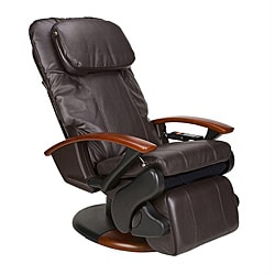 Espresso Human Touch Stretching Massage Chair with Extendable Footrest