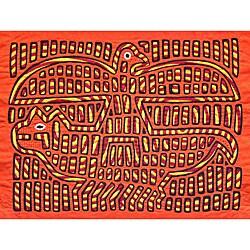 'Eagle and Jaguar' Mola Tapestry (Panama) (8607280 001563 Kuna Women) photo