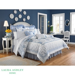 Laura Ashley 'Sophia' White/Blue King 3-Piece Duvet Cover Set