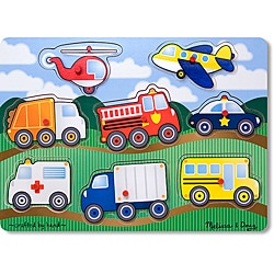 Melissa & Doug Wooden Vehicles Peg Puzzle