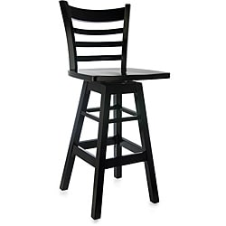 Black Wood Ladderback Swivel Barstool