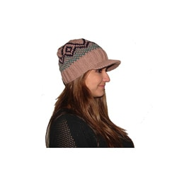 Wool and Cotton Fleece Lined Striped Brim Beanie (Nepal)