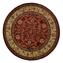 Classic Keshan Claret Red Area Rug (7'10 Round)