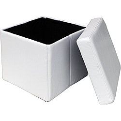 White Folding Cube Storage Ottoman