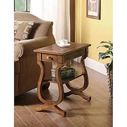 Brown Hardwood Chair Side End Table with Drawer (As Is Item)