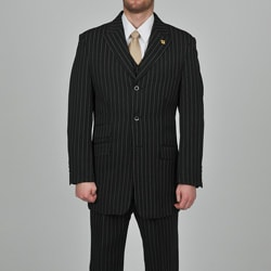 Stacy Adams Men&#39;s 3-button Black Striped Suit