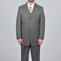 Stacy Adams Men&#39;s Grey Striped 3-button Vested Suit
