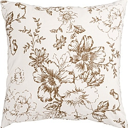 Blitz White/ Tan Floral Decorative Pillow