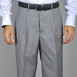 Men's Light Grey Single Pleat Pants