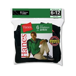 Hanes Men's Full Cushion Ankle Black Socks (Pack of 6)