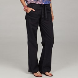 Calvin Klein Women's French Navy Linen Drawstring Pants
