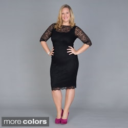 Kiyonna Women's Plus Size 'Cosmo' Lace Overlay Cocktail Dress