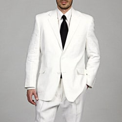 Adolfo Men's White Linen 2-button Suit