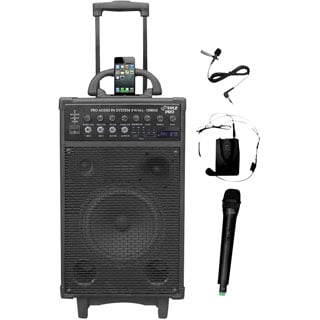 800-Watt Dual Channel Wireless Rechargeable Portable PA System with iPod/iPhone Dock, Radio, Microphones