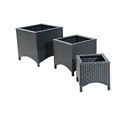 Black Wicker Patio Furniture Planter Stands Set