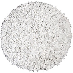T-shirt Shaggy Jersey White Rug (4' Round)