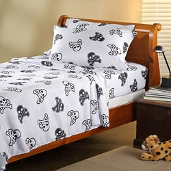 Expressions Microfiber Skull Twin Sheet Set