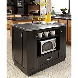Versatile Stainless Steel Top Island with Storage Drawer, Three Storage Boxes, Removable Wine Bottle Holders