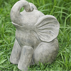 Volcanic Ash Young & Happy Elephant Statue