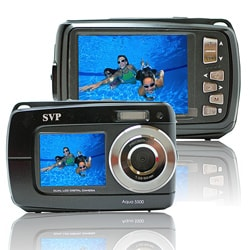 Aqua 5500 Black (with Micro 4GB) 18MP Dual Screen Waterproof Digital Camera
