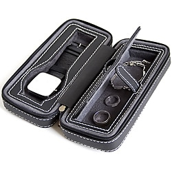 Caddy Bay Collection Black Soft Touch Compact Travel Watch Case